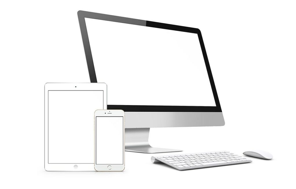 3D website mockup template with apple devices