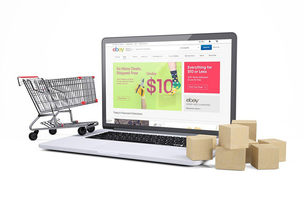 ecommerce-website-3d-online-mockup-with-laptop-boxes-and-cart