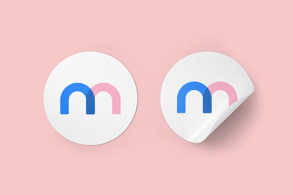 Round sticker design mockup template mediamodifier