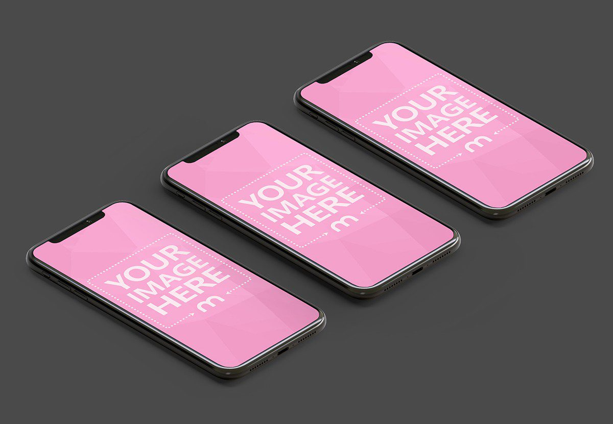 3D iphones free mockup download template PSD