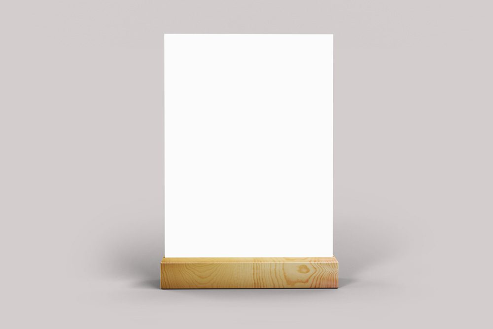06-table-talker-on-wood-stand-psd-mockup