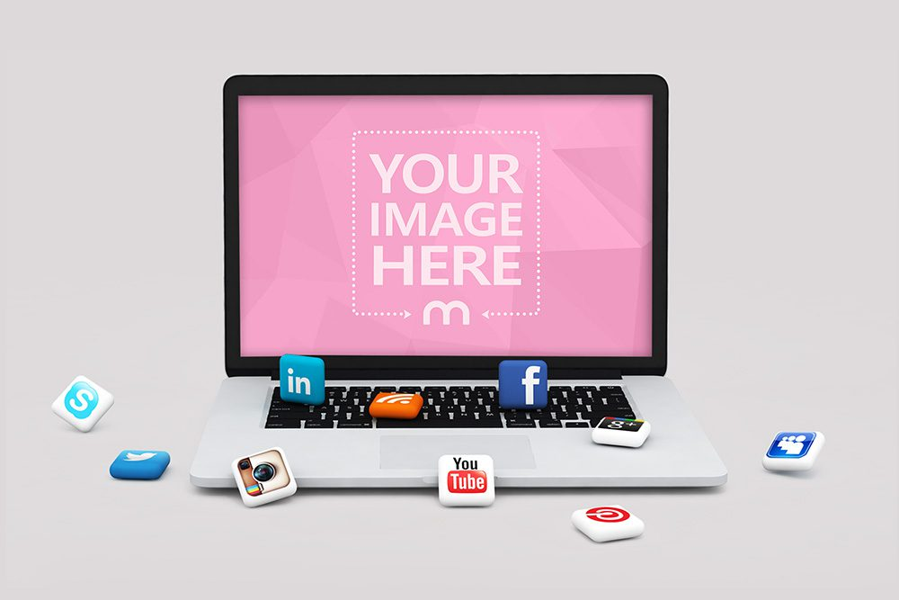 11-laptop-3d-social-media-icons