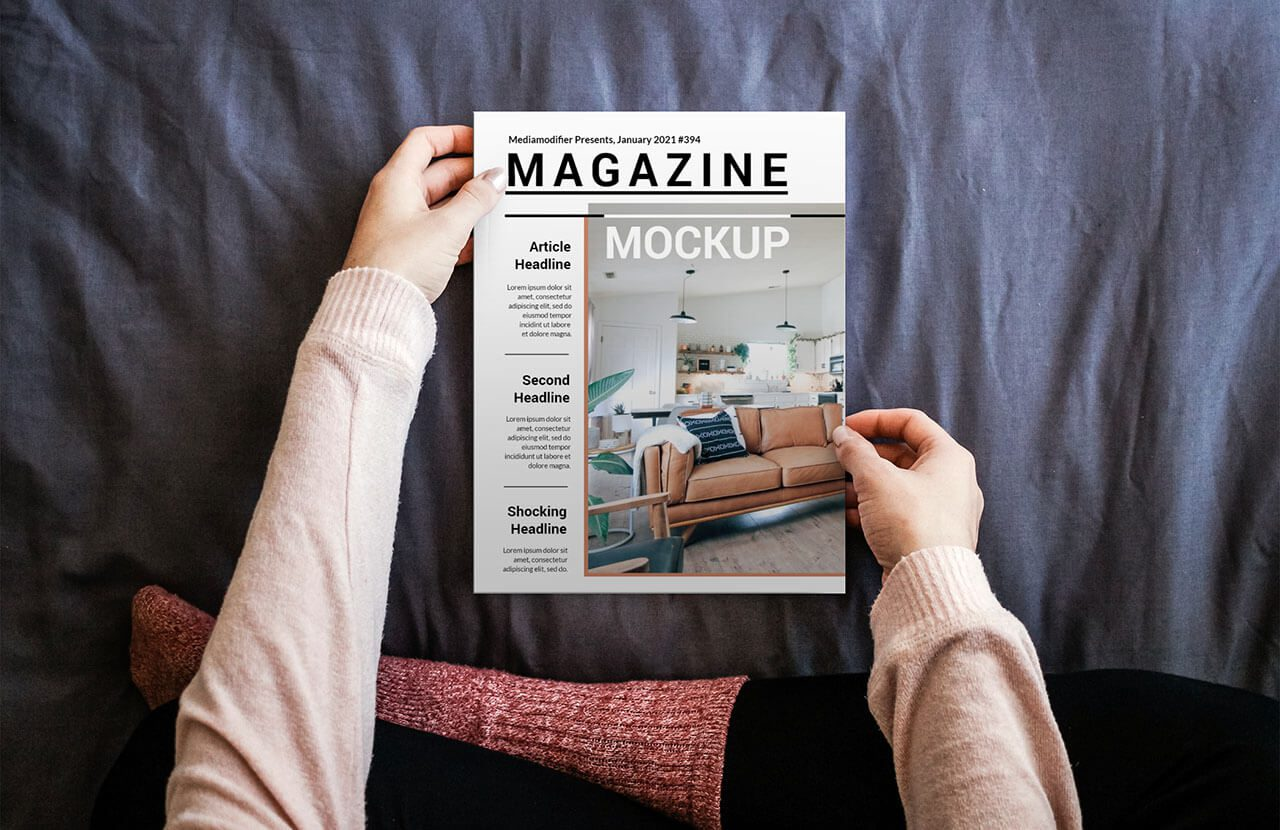 Diseño de revistas: 19-mujer-leyendo-revista-en-cama-maqueta