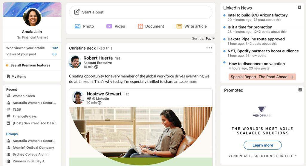 New LinkedIn website layout