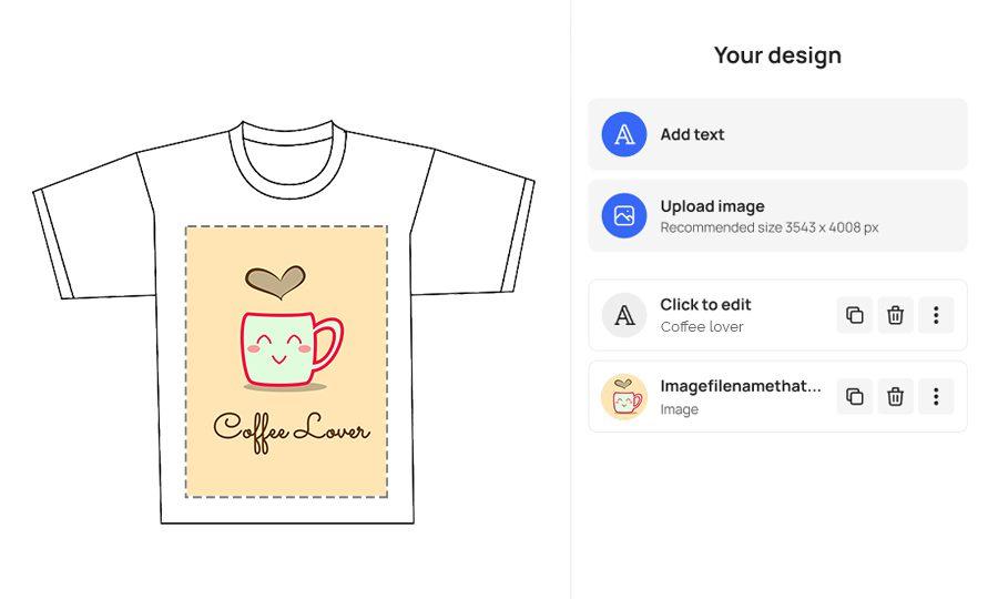 print on demand product design widget