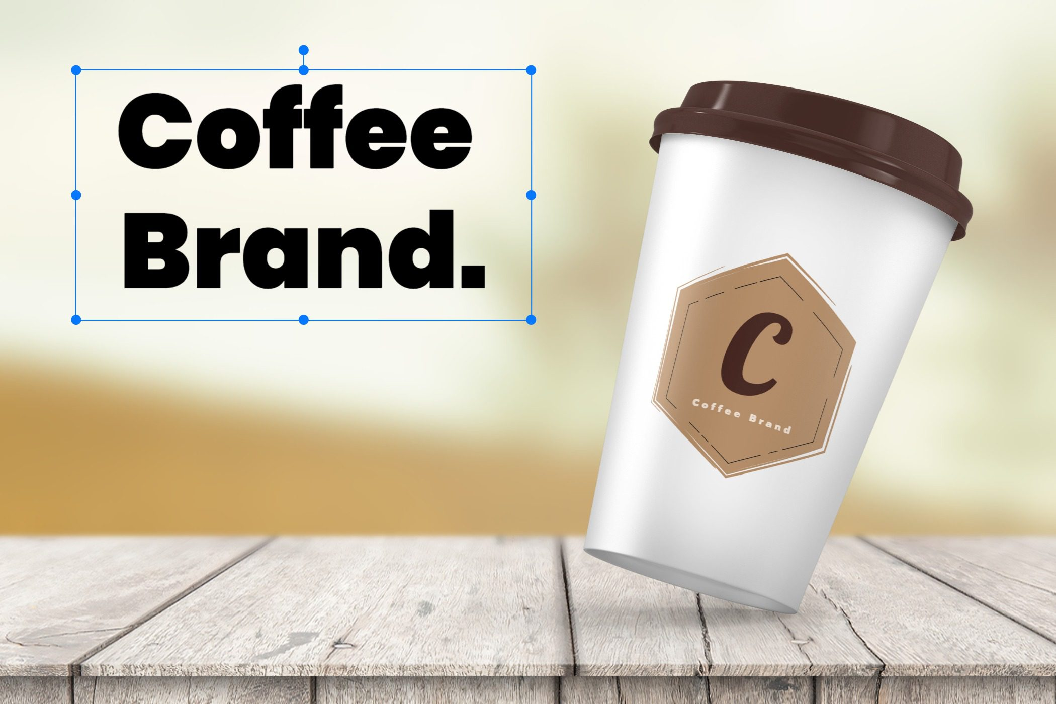 """Example of additional """"Coffee brand"""" text on a mockup template using Mediamodifer"""