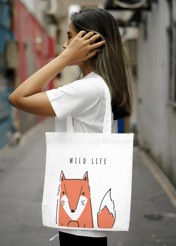 print-on-demand products example of a tote bag mockup with a fox