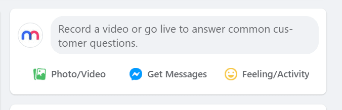 """Screenshot of the Facebook secret engagement tip """"Record a video or go live to answer common customer questions."""" in the status update tab"""