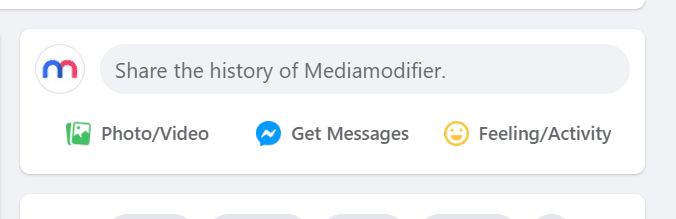 """Screenshot of the Facebook secret engagement tip """"Share the history of Mediamodifier."""" in the status update tab"""