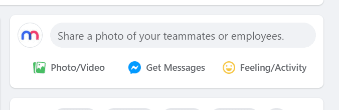 """Screenshot of the Facebook secret engagement tip """"Share a photo of your teammates or employees."""" in the status update tab"""