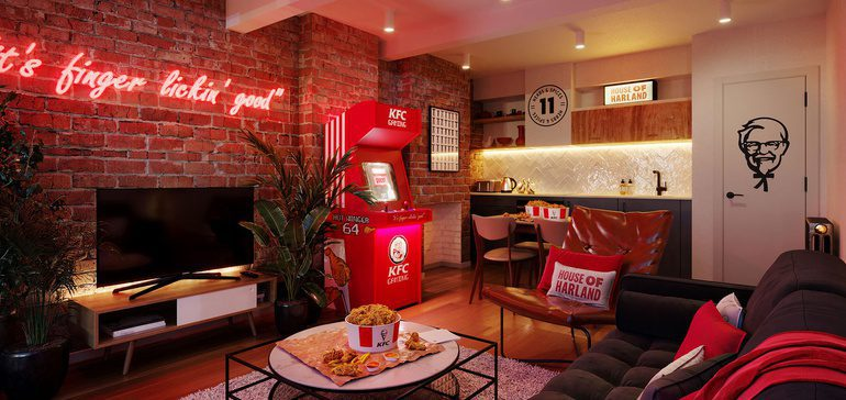 Inside the KFC hotel, featuring chicken-related puns everywhere.